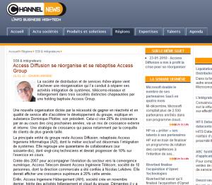 Access Group à la UNE de Channel News